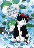 Black and White Cat Birthday Greeting Card