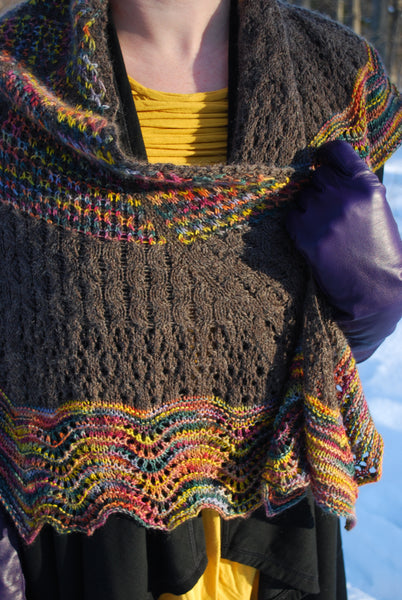 Cineprismatic Shawl Knitting Pattern (PDF) by Phibersmith Designs