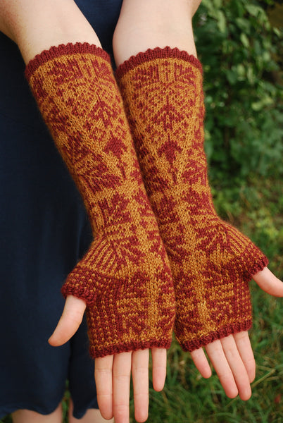 Maple Fall Fingerless Gloves Knitting Pattern (PDF) by Phibersmith Designs