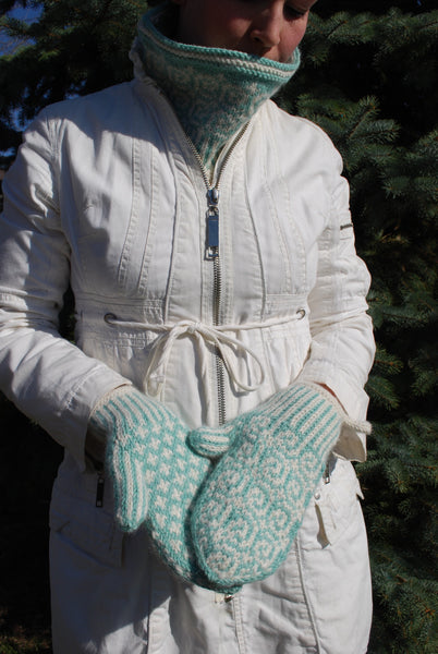 The Lollipop Guild Cowl & Mittens Knitting Pattern (PDF) by Phibersmith Designs