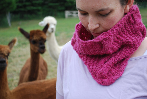 Gambolling Cables Cowl Knitting Pattern (PDF) by Phibersmith Designs