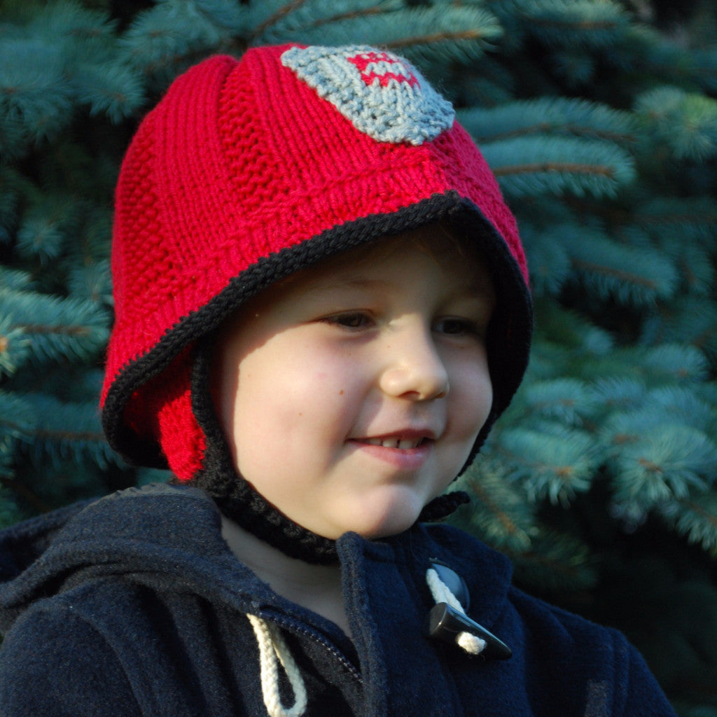 Cozy Firefighter Hat Kit (Size 4 - 5 years only) - Knitting Kit by Phibersmith Designs