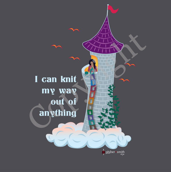 "Rapunzel Knits T-shirt - ""I can knit my way out of anything"" - for knitters"