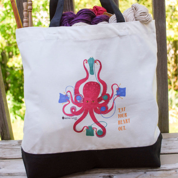 "Octopus Knitting Tote Bag - ""Eat your heart out"" - for knitters"