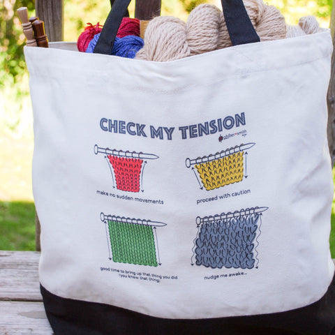 """Check My Tension"" Tote Bag for knitters"