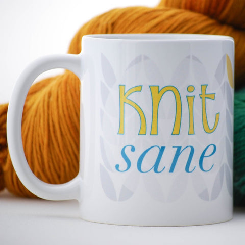 """Knit-Sane"" Coffee or Tea Mug for Knitters"