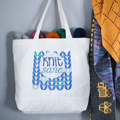 """Knit-Sane"" Tote Bag for Knitters"