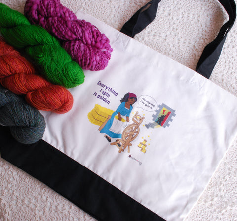 "No Thanks, Rumpelstiltskin! Spinning Wheel Tote Bag, ""Everything I spin is Golden"" for hand spinners, fibre artists, knitters"