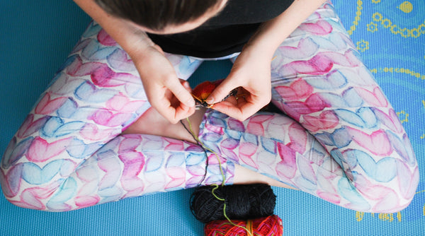 Knitting is My Yoga Leggings - Watercolour Knits