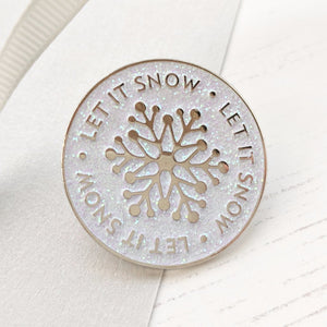 Christmas Let It Snow Glittery Enamel Pin