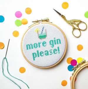 5 great gift ideas for £10 or less... including this More Gin Please Cross Stitch from The Make Arcade