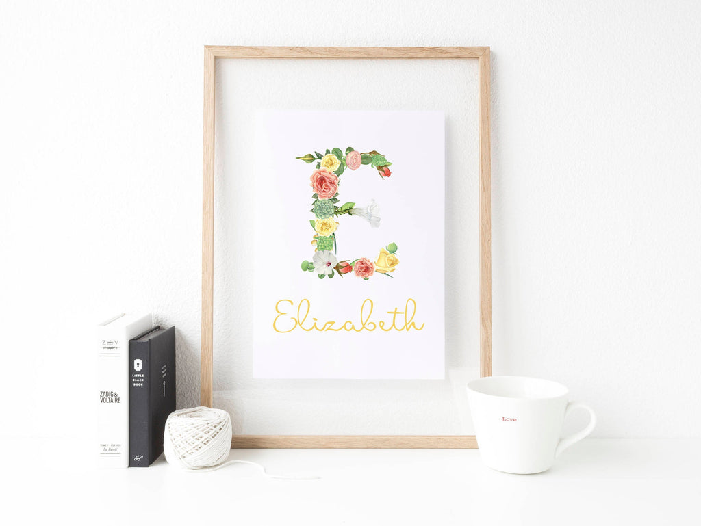 Personalised Floral Initial Print from The Treasured