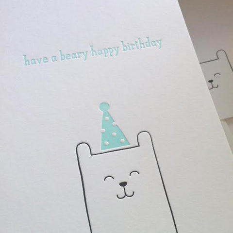 Sarah and Maude Letterpress Have a Beary Happy Birthday Card