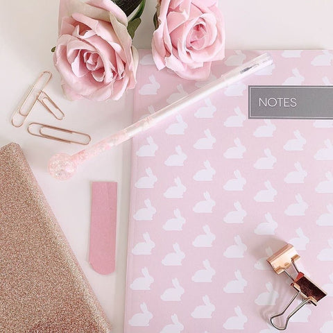 Pink stationery collection for working at home in lockdown.