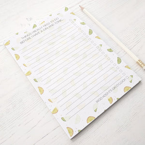 Gin and Tonic Notepad / List Pad - The Treasured