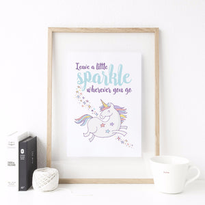 'Leave A Little Sparkle Wherever You Go' Unicorn Print - The Treasured
