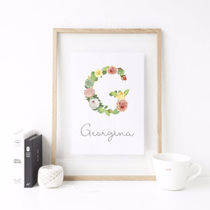 Floral Initial / Letter Print (Personalised) - A4 - The Treasured