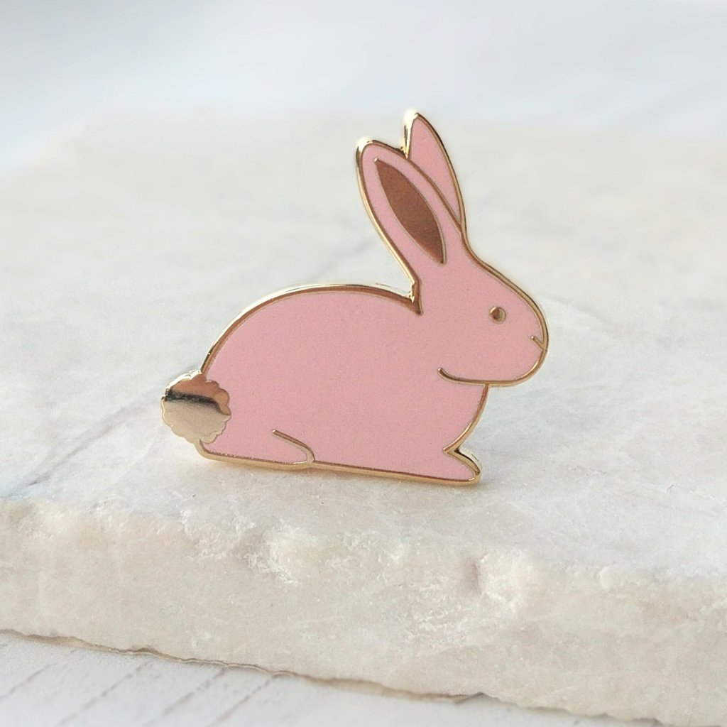 Pink Rabbit Hard Enamel Pin - The Treasured