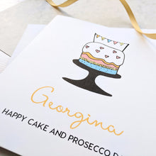 Personalised Cake and Prosecco Birthday Card