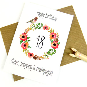18th Birthday Card - Shoes, Shopping and Champagne - The Treasured