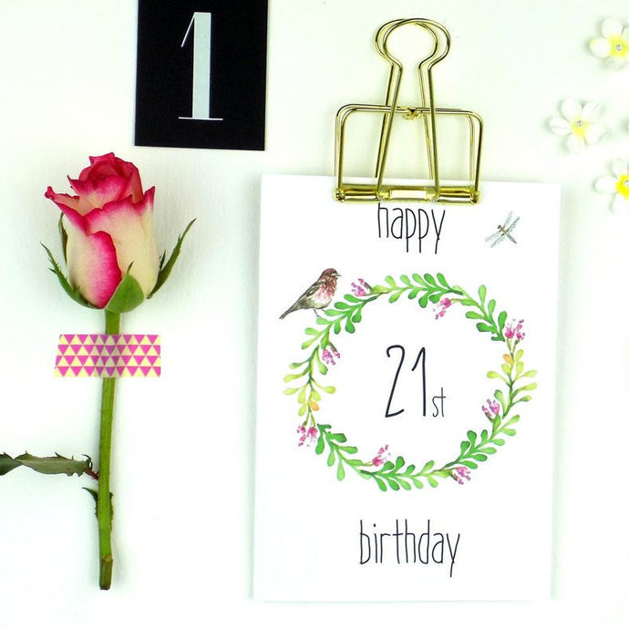 21st Birthday Card - Floral Wreath - The Treasured