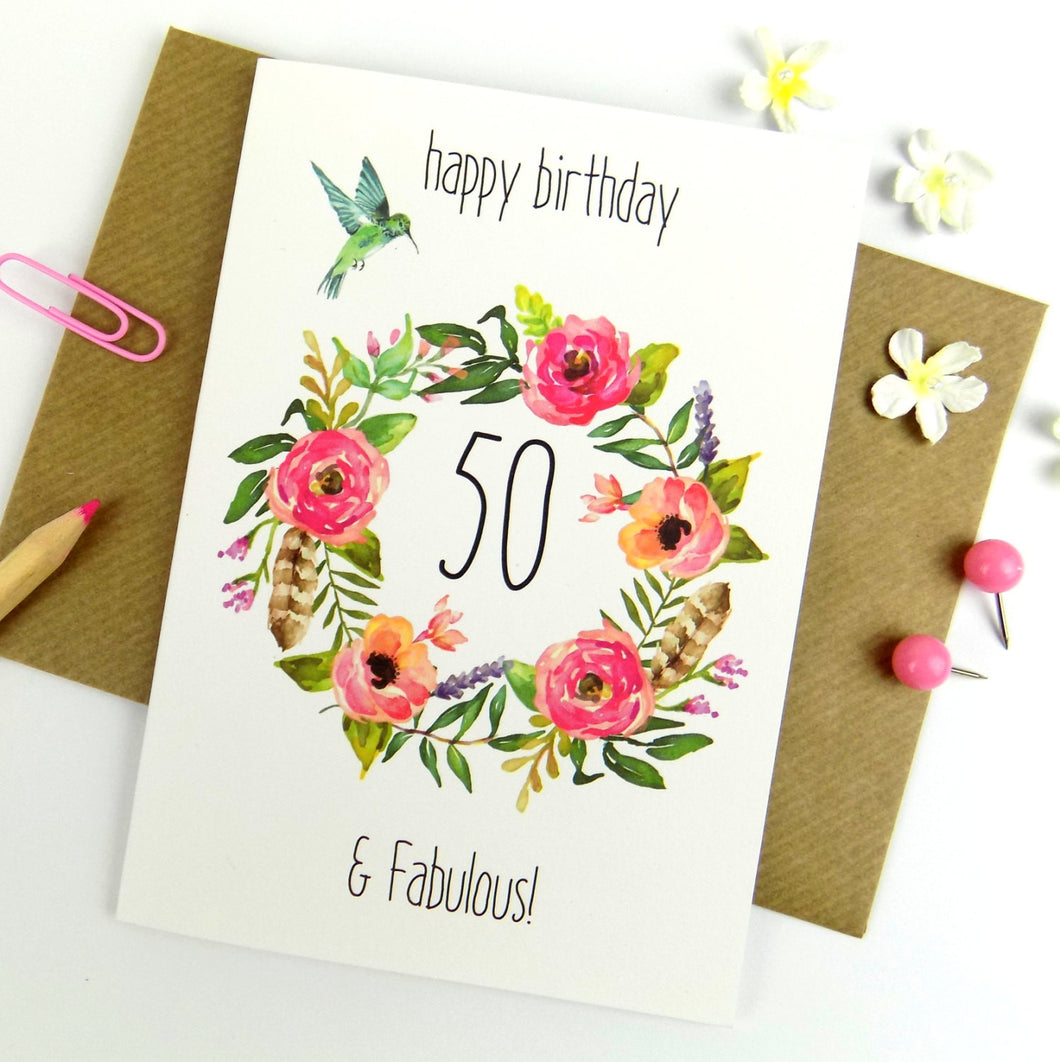 50th Birthday Card - 50 and Fabulous - The Treasured