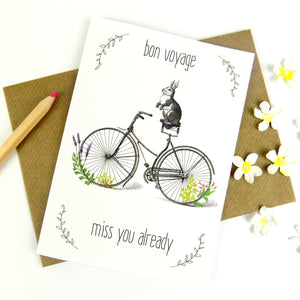 Bon Voyage (Rabbit On A Bike) Leaving Card - The Treasured