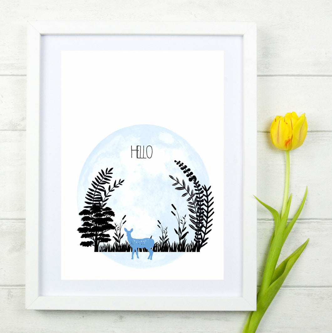 Hello Blue Deer Print - The Treasured