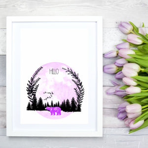 Hello Pink Bear Print - The Treasured
