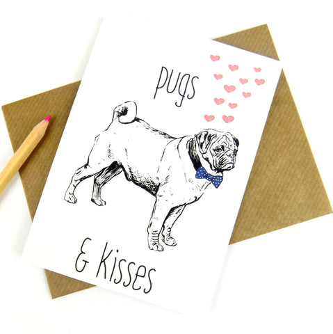 Pugs and Kisses Card - Red Fox Design - The Treasured - 1