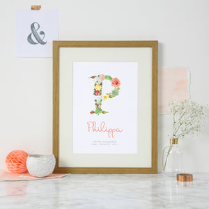 New Baby Personalised Floral Initial Print - Birth Time, Date and Weight