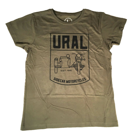 Ural T-Shirt Ladies Sidecar Badge OD Green