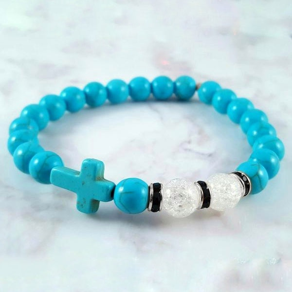 Cracked Crystal Blue Howlite (8mm) - Gemvius