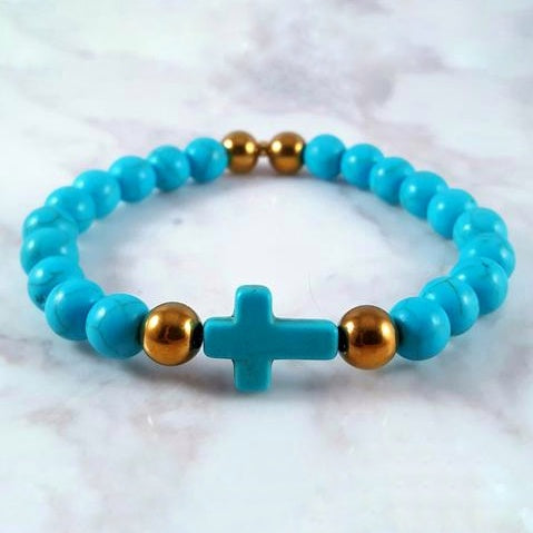 Gold Blue Howlite (8mm) - Gemvius