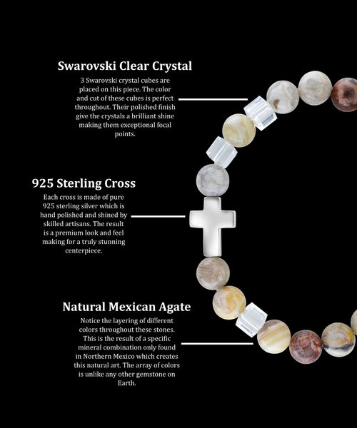 April Crystal Cross Mexican Agate (8mm) - Gemvius