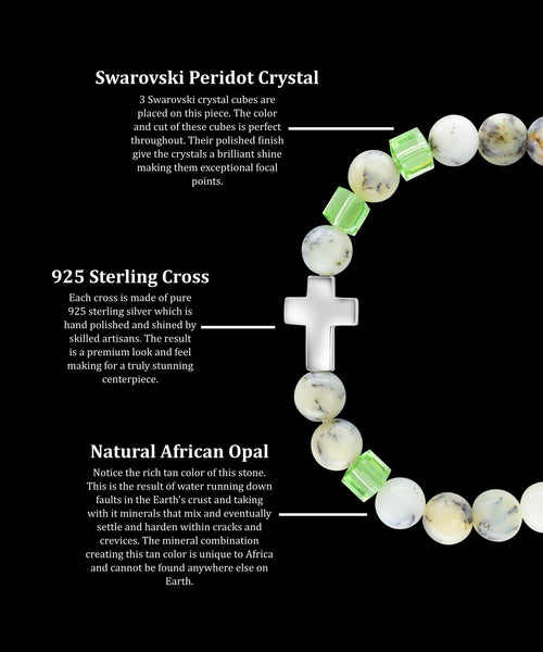 August Peridot Cross African Opal (8mm) - Gemvius
