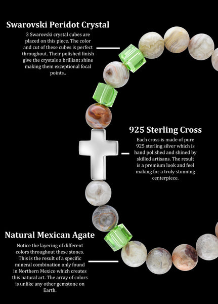 August Peridot Cross Mexican Agate (8mm) - Gemvius