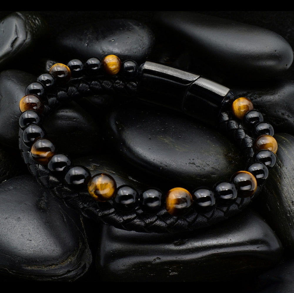 Tiger Eye & Black Leather - Gemvius