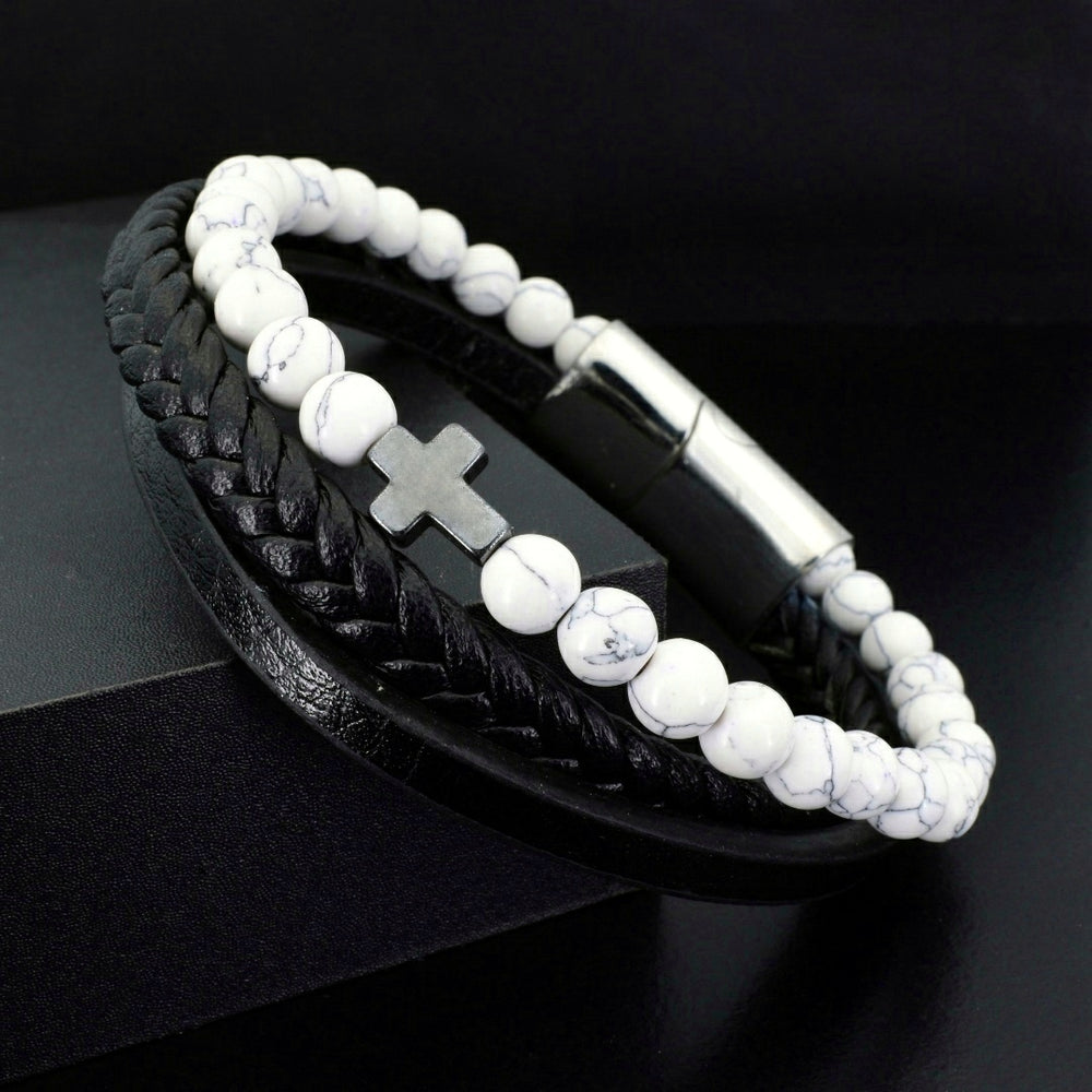 White Turquoise & Black Leather Faith - Gemvius