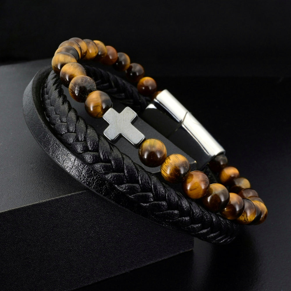Tiger Eye & Black Leather Faith - Gemvius