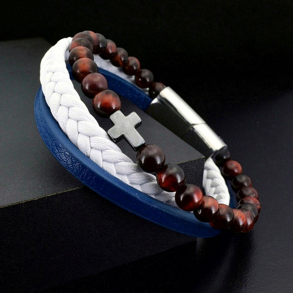Red Tiger Eye & White Blue Leather Faith - Gemvius