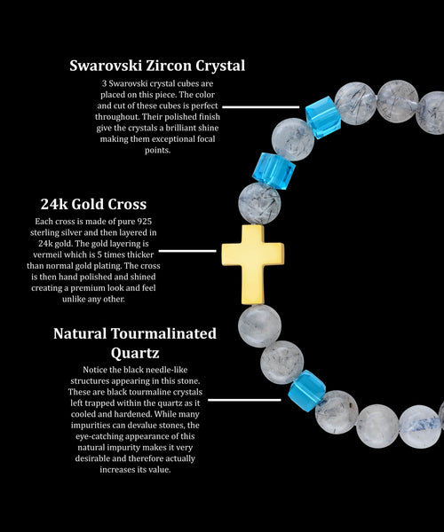 December Zircon Gold Cross Tourmalinated Quartz (8mm)