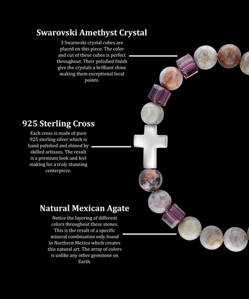 February Amethyst Cross Mexican Agate (8mm) - Gemvius