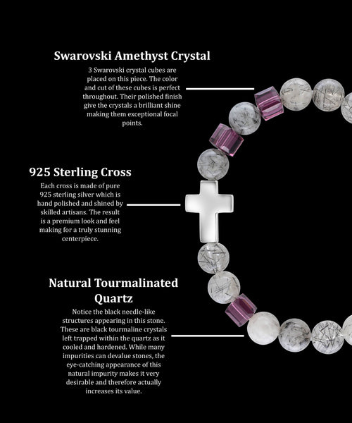 February Amethyst Cross Tourmalinated Quartz (8mm) - Gemvius