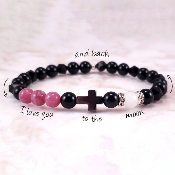 I Love You To The Moon And Back - Faith (6mm) - Gemvius