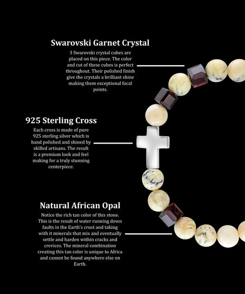 January Garnet Cross African Opal (8mm)
