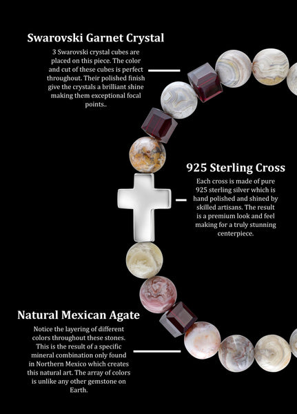 January Garnet Cross Mexican Agate (8mm) - Gemvius