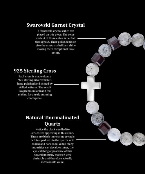 January Garnet Cross Tourmalinated Quartz (8mm)