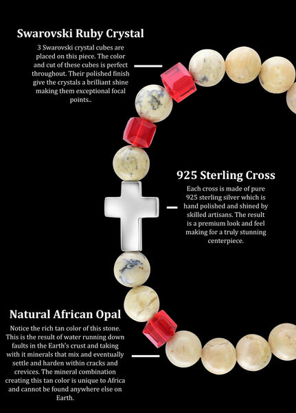 July Ruby Cross African Opal (8mm) - Gemvius