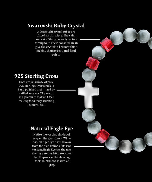 July Ruby Cross Eagle Eye (8mm) - Gemvius
